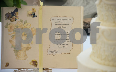 A wedding invitation from their marriage in 1968 is used at the 50th wedding anniversary vow renewal ceremony for Judy and W.H. Harbour of Tyler at Green Acres Baptist Church on Saturday Aug. 4, 2018.  (Sarah A. Miller/Tyler Morning Telegraph)