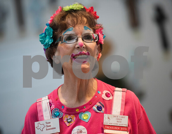 "Cindy ""Rice Cake"" Rice sings with other members of the Tyler-based Rosy Nose Clown Alley inside the chapel at Breckenridge Village Friday Aug. 4, 2017 to celebrate National Clown Week. Breckenridge Village of Tyler (BVT) is a faith-based community for adults with mild to moderate intellectual and developmental disabilities.   (Sarah A. Miller/Tyler Morning Telegraph)"