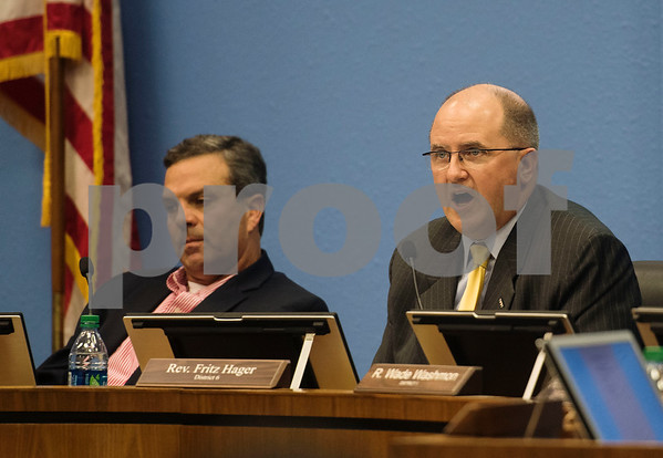 Tyler ISD board president Fritz Hager speaks during a specialty called Tyler Independent School District meeting where a vote on whether or not to change the name of Robert E. Lee High School was on the agenda is adjourned. The motion to vote died after failing to gain a second motion.   (Sarah A. Miller/Tyler Morning Telegraph)
