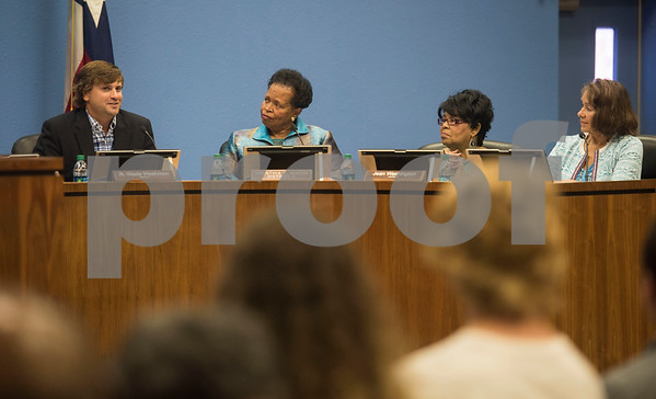 Tyler ISD Superintendent board members Ornenthia Mason, Jean Washington and Patricia Nation listen as Wade Washmon speaks during a specialty called Tyler Independent School District meeting where a vote on whether or not to change the name of Robert E. Lee High School was on the agenda. The motion to vote died after failing to gain a second motion during the meeting at the Jim Plyler Instructional Complex in Tyler, Texas.   (Sarah A. Miller/Tyler Morning Telegraph)