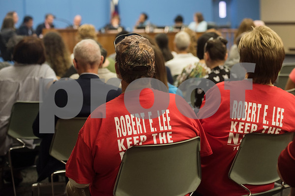 Supporters of keeping the name Robert E. Lee High School wear matching t-shirts at a specialty called Tyler Independent School District meeting where a vote on whether or not to change the name of Robert E. Lee High School was on the agenda. The motion to vote died after failing to gain a second motion during the meeting at the Jim Plyler Instructional Complex in Tyler, Texas.   (Sarah A. Miller/Tyler Morning Telegraph)