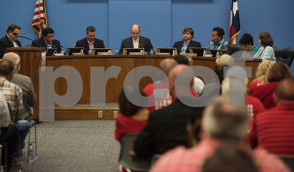 From left: Tyler ISD Superintendent Dr. Marty Crawford and board members Aaron Martinez, Andy Bergfeld, president Fritz Hager, Wade Washmon, Ornenthia Mason, Jean Washington and Patricia Nation conduct a specialty called Tyler Independent School District meeting where a vote on whether or not to change the name of Robert E. Lee High School was on the agenda. The motion to vote died after failing to gain a second motion during the meeting at the Jim Plyler Instructional Complex in Tyler, Texas.   (Sarah A. Miller/Tyler Morning Telegraph)