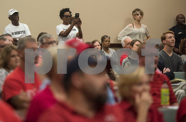 People wait in anticipation for a vote at a specialty called Tyler Independent School District meeting where a vote on whether or not to change the name of Robert E. Lee High School was on the agenda is adjourned. The motion to vote died after failing to gain a second motion.   (Sarah A. Miller/Tyler Morning Telegraph)