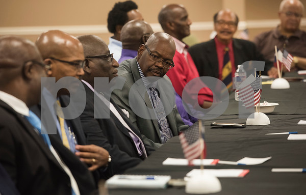 Leaders in the African American community attend a discussion with Texas Governor Greg Abbott at New Days Community Church in Tyler on Wednesday Aug. 8, 2018. The roundtable discussion was part of a campaign stop that focused on education and economic opportunities in the African American community.  (Sarah A. Miller/Tyler Morning Telegraph)