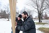 Rabbi Avremy Raskin and Adam Ziegner assemble the menorah in front of the Fire Station in West Brattleboro.  KELLY FLETCHER, REFORMER CORRESPONDENT
