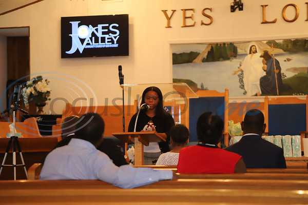 Teylor Bradley speaks at Jones Valley Church during the 100 Faces of Freedom event. Sarah perez/Freelance