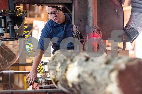 A man cuts a piece of timber at Wilcox Timber & Lumber in Rusk, Texas, on Tuesday, Sept. 12, 2017. Wilcox Timber & Lumber is a family-owned specialty sawmill offering quality woods like cedar, mesquite and cypress. They began their logging operation in 1980 and sawmill operation in 1997. (Chelsea Purgahn/Tyler Morning Telegraph)