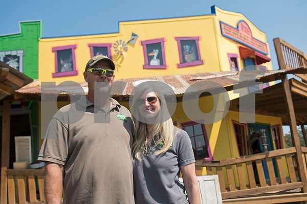 """Owners Chuck and Kama Bozeman added this """"twister town"""" themed building to Yesterland Farm as a result of rebuilding after an actual tornado hit the family entertainment center in Canton in April 2017.   (Sarah A. Miller/Tyler Morning Telegraph)"""