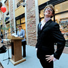 Showing how not to dress for a job interview, Caleb Trantow show up on stage dressed inappropriately during a fashion show for the Suit Yourself sale in the UMC atrium at the University of Colorado in Boulder, Colorado September 15, 2011.   CAMERA/Mark Leffingwell