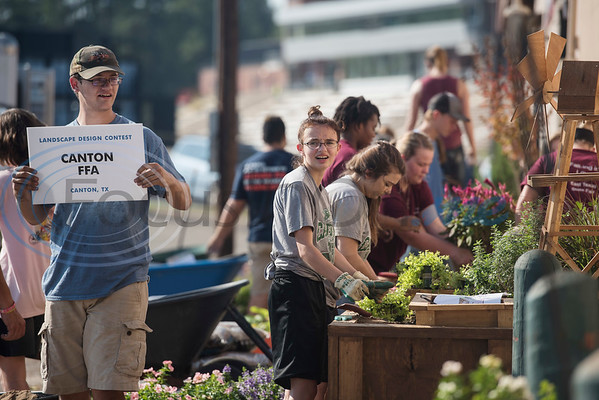 Canton High School students compete in the Horticulture Show Landscape Design Competition at the East Texas State Fair on Wednesday Sept. 19, 2018. Teams from local high schools competed in designing and making a themed 4 foot by 7 foot planter box.  (Sarah A. Miller/Tyler Morning Telegraph)