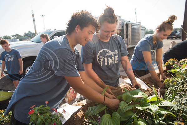 Gilmer High School students compete in the Horticulture Show Landscape Design Competition at the East Texas State Fair on Wednesday Sept. 19, 2018. Teams from local high schools competed in designing and making a themed 4 foot by 7 foot planter box.  (Sarah A. Miller/Tyler Morning Telegraph)