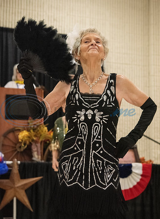 Martha Morrill performs with the Flappers dance group from the Tyler Senior Center for Senior Day at the East Texas State Fair on Friday Sept. 20, 2019.   (Sarah A. Miller/Tyler Morning Telegraph)