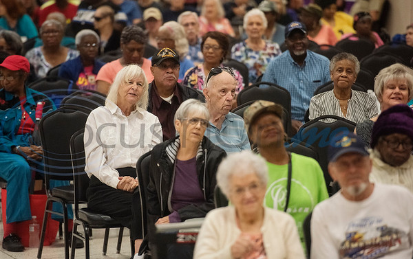 Senior citizens watch entertainment on stage during Senior Day at the East Texas State Fair on Friday Sept. 20, 2019.  (Sarah A. Miller/Tyler Morning Telegraph)