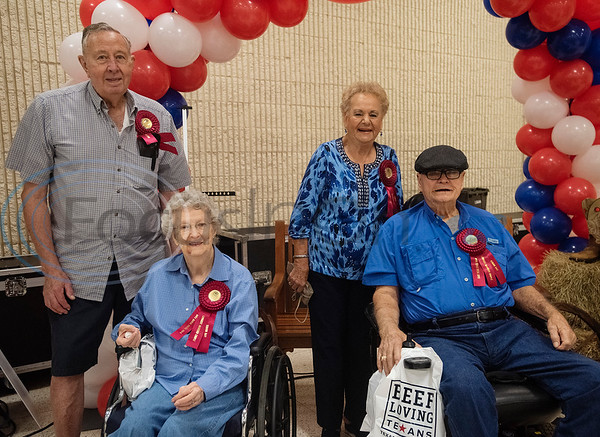 Bob and Joyce Pettit of Tyler and Girthal and Clarence Miller of Whitehouse are recognized for their 66 years of marriage each during Senior Day at the East Texas State Fair on Friday Sept. 20, 2019.  (Sarah A. Miller/Tyler Morning Telegraph)