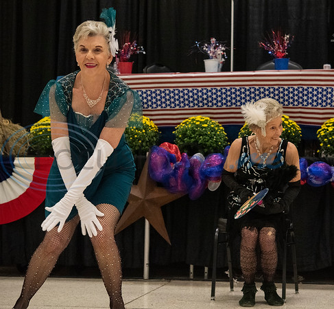 Mindy Lyons and Martha Morrill perform with the Flappers dance group from the Tyler Senior Center for Senior Day at the East Texas State Fair on Friday Sept. 20, 2019.   (Sarah A. Miller/Tyler Morning Telegraph)