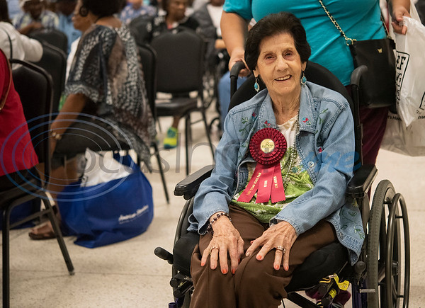 Sara Carbone, 98, of Tyler, is pinned Queen of Senior Day at the East Texas State Fair on Friday Sept. 20, 2019.   (Sarah A. Miller/Tyler Morning Telegraph)