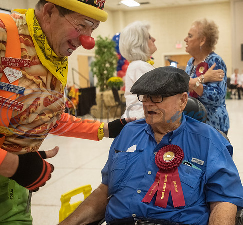 Clarence and Girthal Miller of Whitehouse are recognized for their 66 years of marriage each during Senior Day at the East Texas State Fair on Friday Sept. 20, 2019.  (Sarah A. Miller/Tyler Morning Telegraph)