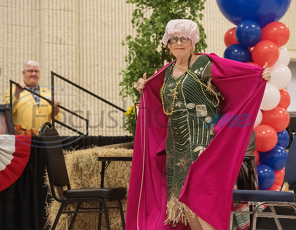 Dee Kirkpatrick does a skit with the Flappers dance group from the Tyler Senior Center for Senior Day at the East Texas State Fair on Friday Sept. 20, 2019.   (Sarah A. Miller/Tyler Morning Telegraph)