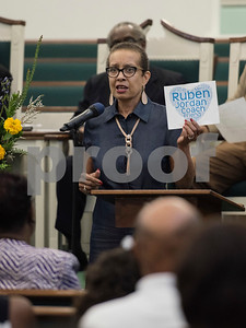 Patrice Kissentaner Starks, cousin of Ruben Jordan, holds up a design she created to honor her cousin after his death at his memorial service held at Liberty Baptist Church in Tyler, Texas Saturday Sept. 2, 2017. Ruben Jordan was a longtime coach for Clear Creek High School in League City, Texas. Jordan died in the floods following Hurricane Harvey. Jordan grew up in Tyler and was a football player at John Tyler High School on the class of 1977 team.   (Sarah A. Miller/Tyler Morning Telegraph)