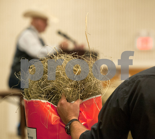 photo by Sarah A. Miller/Tyler Morning Telegraph  Josh Boyett of USDA Natural Resources Conservation Service holds a high-scoring bale of hay as auctioneer Jack Dillard runs the Hay Show & Auction Monday at the East Texas State Fair in Tyler. Top scoring bales of hay from the show were auctioned off with proceeds benefiting the East Texas State Fair Junior Livestock Show, East Texas Cattle-Ettes Scholarships and Soil & Water Conservation District programs.