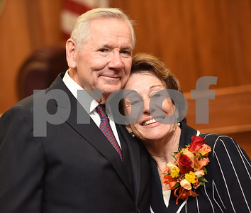 United States District Judge for the Eastern District of Texas Michael Schneider is pictured with his wife Mary Schneider during his retirement reception in Tyler Friday Sept. 23, 2016.   (Sarah A. Miller/Tyler Morning Telegraph)
