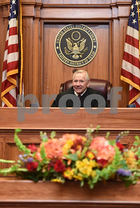 United States District Judge for the Eastern District of Texas Michael Schneider is pictured in his courtroom during his retirement reception in Tyler Friday Sept. 23, 2016.   (Sarah A. Miller/Tyler Morning Telegraph)