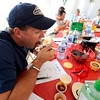 Fire Marshal Dave Lowery takes a bite of on of the Chili Inferno Cook Off entries at the Boulder Creek Hometown Fair in Boulder, Colorado September 5, 2011.   CAMERA/Mark Leffingwell