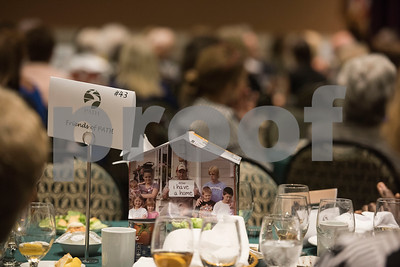 The tables are set with PATH themed decorations at the PATH Week Luncheon held at Green Acres Thursday Sept. 7, 2017. Christ Church Episcopal was honored for 32 years of service with PATH.  (Sarah A. Miller/Tyler Morning Telegraph)