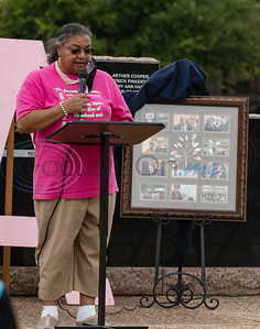Sonja Watson speaks during a program celebrating the life of Congressman John Lewis in downtown Tyler on Friday, July 31, 2020. The event was hosted by Alpha Kappa Alpha Sorority, Inc. and Phi Beta Sigma Fraternity, Inc.