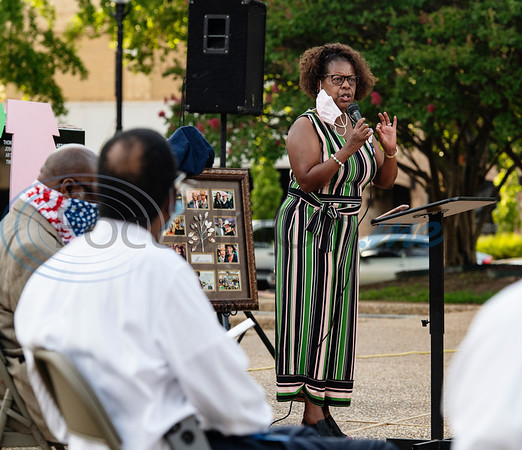 Rubye Kendrick speaks during a program celebrating the life of Congressman John Lewis in downtown Tyler on Friday, July 31, 2020. The event was hosted by Alpha Kappa Alpha Sorority, Inc. and Phi Beta Sigma Fraternity, Inc.
