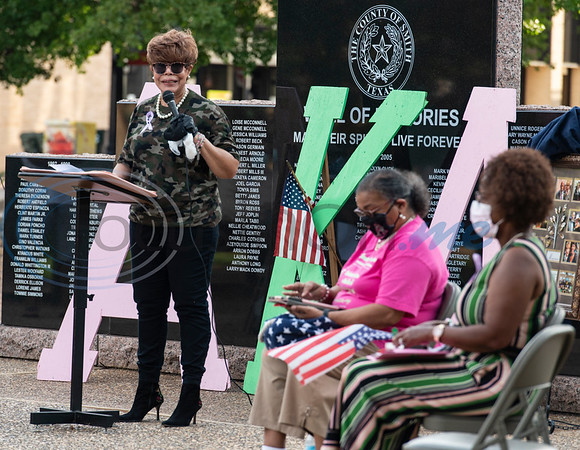 Dr. Shirley McKellas, President, Gamma Omicron Omega Chapter of Alpha Kappa Alpha Sorority, Inc. leads the program during a celebration of life memorial for Congressman John Lewis in downtown Tyler on Friday, July 31, 2020. The event was hosted by Alpha Kappa Alpha Sorority, Inc. and Phi Beta Sigma Fraternity, Inc.