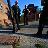 KRISTOPHER RADDER — BRATTLEBORO REFORMER<br /> Brattleboro Police Officer Brad Penniman and officer Mike Cable question a witness about what they saw on Sept. 5, 2018.