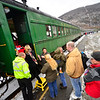 KRISTOPHER RADDER — BRATTLEBORO REFORMER<br /> Passengers filled ten train cars on the historic Green Mountain Flyer in the second ride from Bellows Falls to the North Pole (Chester, Vt., train station) on Sunday, Nov. 24, 2019. Holiday characters entertained the passengers during the voyage while raising money for the Bellows Falls Middle School Band.