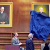 BEN GARVER — THE BERKSHIRE EAGLE<br /> Justice Francis X. Spina and artist Michael Russeau unveil a portrait of Spina in Berkshire Superior Court during a ceremony celebrating the occasion, Friday, November 8, 2019.