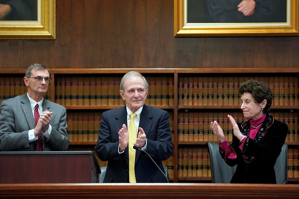 BEN GARVER — THE BERKSHIRE EAGLE<br /> Judge John A. Agostini, Justice Francis X. Spina and Justice Judith A. Cowan applaud  during a ceremony of the unveiling of a portrait of Justice Francis X. Spina in Berkshire Superior Court, Friday, November 8, 2019.
