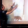 Boulder Police Officer Officer Rick French talks about how Rex the dog  was taped to a refrigerator  in front of a photo of Rex after the dog was rescued during the case against Abby Toll Monday afternoon in Boulder. <br /> Photo by Paul Aiken / The Camera / Monday April 12, 2010