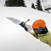 Scott Toepfer, Avalanche Forecaster with Colorado Avalanche Information Center, digs out a block for another test during a day analyzing the snowpack in the Crystal Creek Drainage area above Breckenridge Colorado on February 22, 2012. <br /> Photo by Jenn Fields / The Camera / Boulder