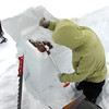 Scott Toepfer, Avalanche Forecaster with Colorado Avalanche Information Center, tests the strength of the bonds between layers in the snow during a day analyzing the snowpack in the Crystal Creek Drainage area above Breckenridge Colorado on February 22, 2012. <br /> Photo by Jenn Fields / The Camera / Boulder