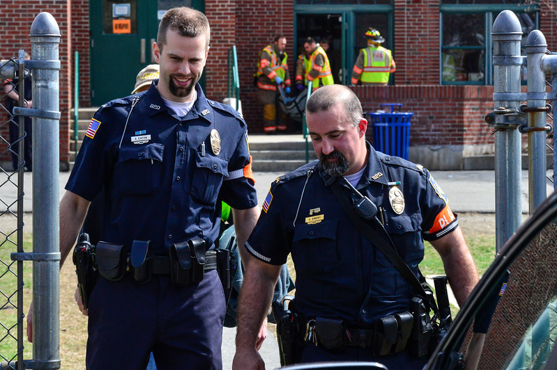 KRISTOPHER RADDER - BRATTLEBORO REFORMER<br /> Brattleboro Police Detective Gregory Eaton talks to Brattleboro Police Department Sgt. Chad Emery during an active shooter training on Thursday, April 20, 2017.