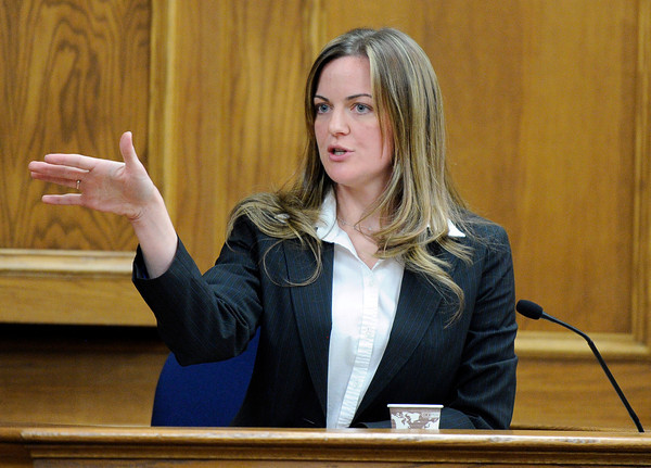 """Agent Amy Miller, of the Colorado Bureau of Investigations, talks about the crime scene with the jury on Thursday, March 15, during the second day of the Adam Raszynski murder trial at the Boulder County Justice Center in Boulder. Raszinski is on trial for the murder of his mother Rita Redford. For more photos of the trial go to  <a href=""""http://www.dailycamera.com"""">http://www.dailycamera.com</a><br /> Jeremy Papasso/ Camera"""