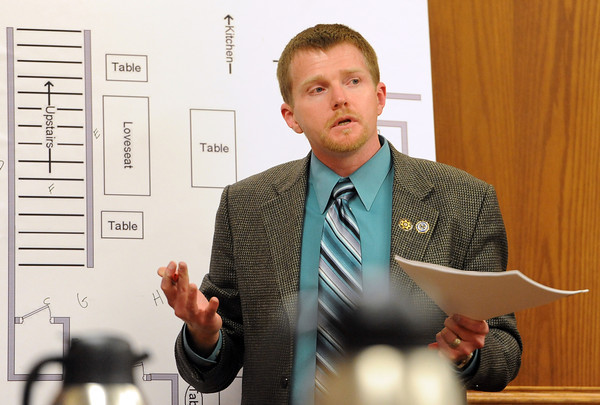 "Gentry Roth, a crime scene investigator for the CBI, talks about the blood stains he tested for DNA in the home.<br /> The  second day of the murder trial of Adam Raszynski continued on Thursday. For more photos of the trial,  <a href=""http://www.dailycamera.com"">http://www.dailycamera.com</a>.<br /> Cliff Grassmick / March 15, 2012"