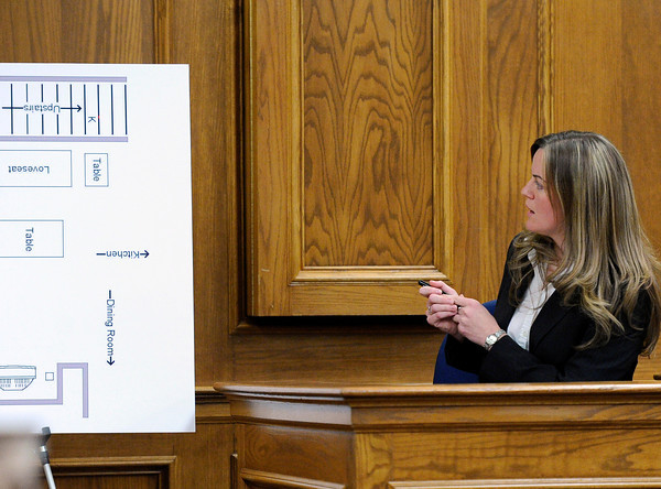 "Agent Amy Miller, of the Colorado Bureau of Investigations, points with a laser pointer to an area of interest on a drawing of the crime scene on Thursday, March 15, during the second day of the Adam Raszynski murder trial at the Boulder County Justice Center in Boulder. Raszinski is on trial for the murder of his mother Rita Redford. For more photos of the trial go to  <a href=""http://www.dailycamera.com"">http://www.dailycamera.com</a><br /> Jeremy Papasso/ Camera"