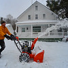 KRISTOPHER RADDER - BRATTLEBORO REFORMER<br /> Peter Wallace, of Wilmington, Vt., clears snow away on Wednesday, March 15, 2017 after Winter Storm Stella.