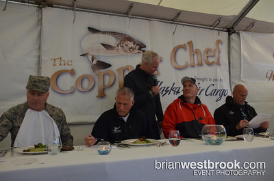"Alaska Airlines hosted their annual ""The Copper Chef"" competition featuring local chefs: Pat Donahue (Anthony's Restaurants), John Howie (John Howie Steak House, Seastar, SPORT), Chris Bryant (Wildfin American Grill), and Master Sgt. Robert Shulman (USAF Reserve/Joint Base Lewis McChord). The very first Copper River Salmon, caught yesterday, arrived in Seattle kick-off the annual season. Judges Jay Buhner (Seattle Mariner Hall of Famer), Mike Fourtner (Deadliest Catch), McChord Command Chief Tony Mack, and Alaska Airlines' VP/Customer Service Airports Jeff Butler tasted and tabulated... the winner? Chef John Howie!  All Photos (C) 2013 Brian M. Westbrook / brianwestbrook.com. For details: photos AT brianwestbrook DOT com"
