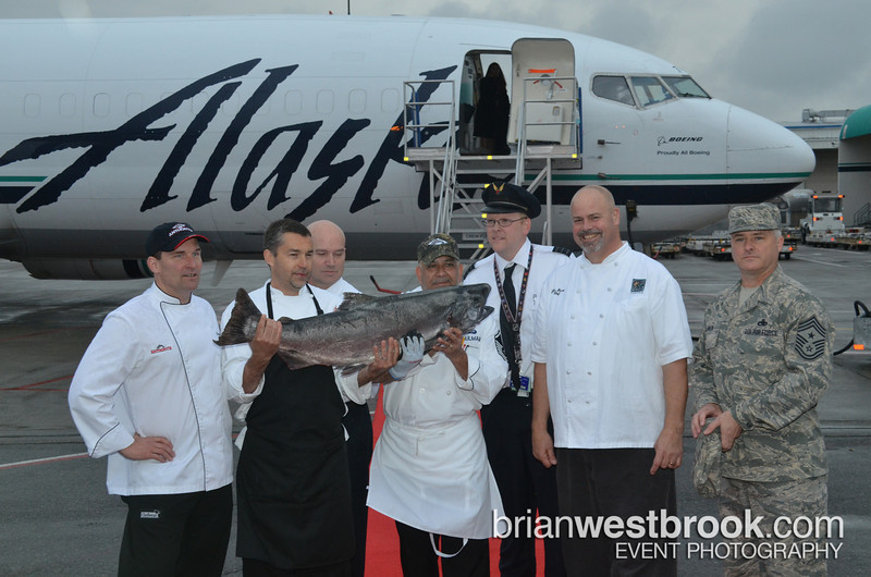 """Alaska Airlines hosted their annual """"The Copper Chef"""" competition featuring local chefs: Pat Donahue (Anthony's Restaurants), John Howie (John Howie Steak House, Seastar, SPORT), Chris Bryant (Wildfin American Grill), and Master Sgt. Robert Shulman (USAF Reserve/Joint Base Lewis McChord). The very first Copper River Salmon, caught yesterday, arrived in Seattle kick-off the annual season. Judges Jay Buhner (Seattle Mariner Hall of Famer), Mike Fourtner (Deadliest Catch), McChord Command Chief Tony Mack, and Alaska Airlines' VP/Customer Service Airports Jeff Butler tasted and tabulated... the winner? Chef John Howie!  All Photos (C) 2013 Brian M. Westbrook / brianwestbrook.com. For details: photos AT brianwestbrook DOT com"""