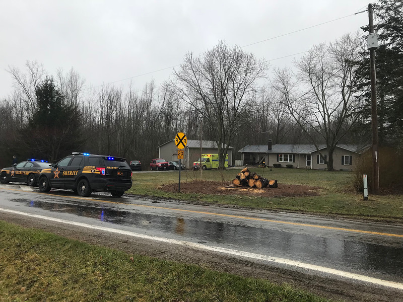 NATHAN HAVENNER/ GAZETTE Medina County sheriff's Deputy Zachary Kirkwood sustained abrasions and contusions to his legs when an ambulance backed into him Thursday morning in Westfield Township, Capt. Ken Baca said.