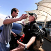 "University of Colorado student and Army veteran Jonathan Wezner, left, gives his brother Matt Wezner, of Michigan, a hug while saying goodbye at Denver International Airport on Wednesday, April 18. Wezner's brother was in town visiting for a few days. For more photos and video of the life of Wezner go to  <a href=""http://www.dailycamera.com"">http://www.dailycamera.com</a><br /> Jeremy Papasso/ Camera"