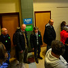 KRISTOPHER RADDER — BRATTLEBORO REFORMER<br /> People wait in the halls before being allowed to enter the cafeteria where Democratic presidential candidate Sen. Amy Klobuchar, D-Minn., was holding a town hall meeting at Keene High School on Tuesday, Dec. 31, 2019.