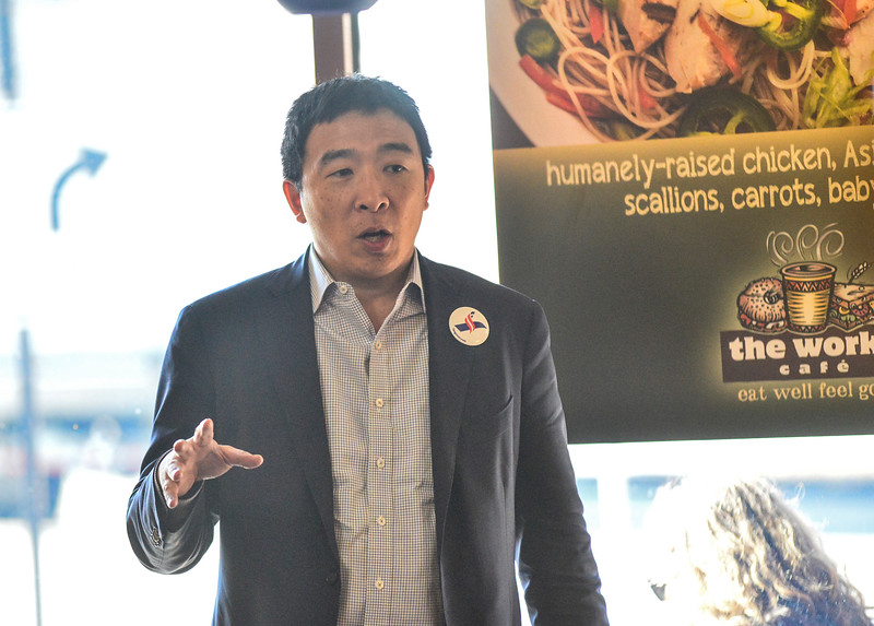 KRISTOPHER RADDER — BRATTLEBORO REFORMER<br /> Andrew Yang, a candidate in the Democratic Presidential Primaries, visits The Works, in Keene, N.H., during an event that was hosted by the New Hampshire Youth Movement on Tuesday, Feb. 5, 2019.