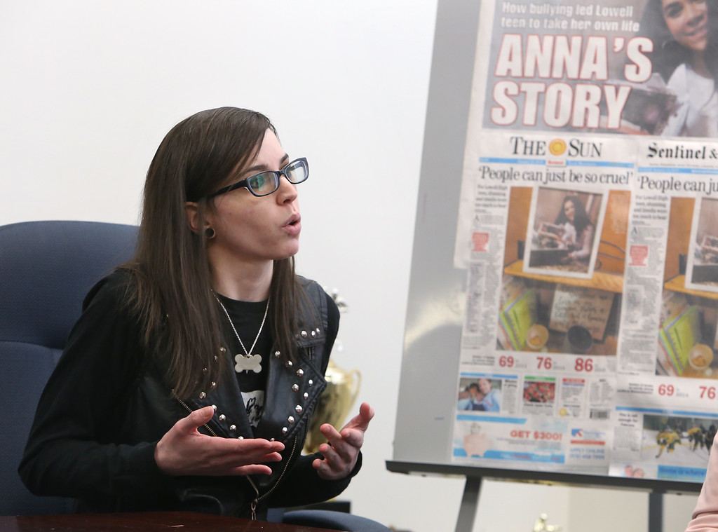 . Suicide attempt survivor Caitlin Caruso, during livestreamed forum on school bullying. (SUN/Julia Malakie)